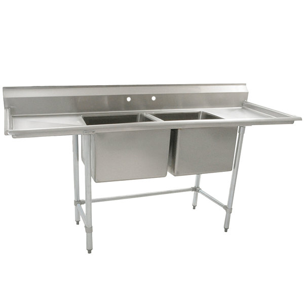 """Eagle Group S16-20-2-18 Two 20"""" x 20"""" Bowl Stainless Steel Fabricated Compartment Sink with Two 18"""" Drainboards"""