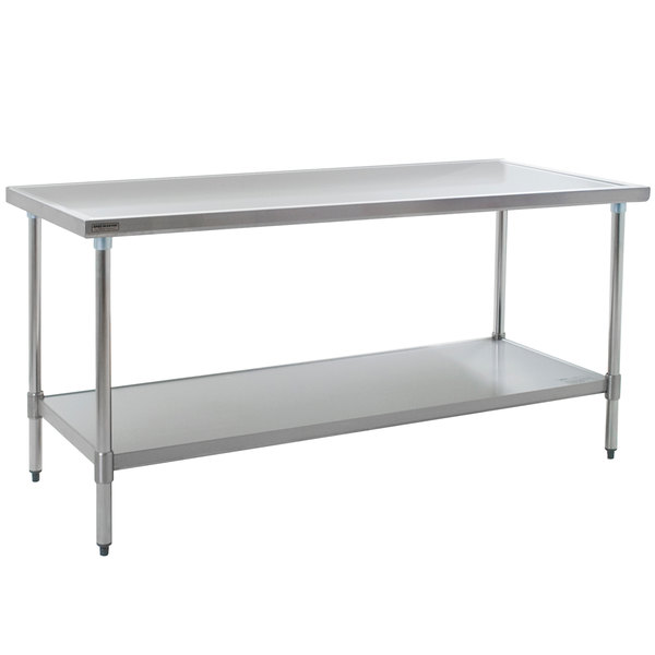 """Eagle Group T3072EM 30"""" x 72"""" Stainless Steel Work Table with Galvanized Undershelf"""