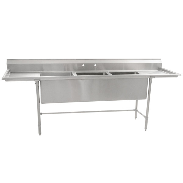 "Eagle Group S14-20-3-24-SL Three 20"" x 20"" Bowl Stainless Steel Fabricated Compartment Sink with Two 24"" Drainboards"