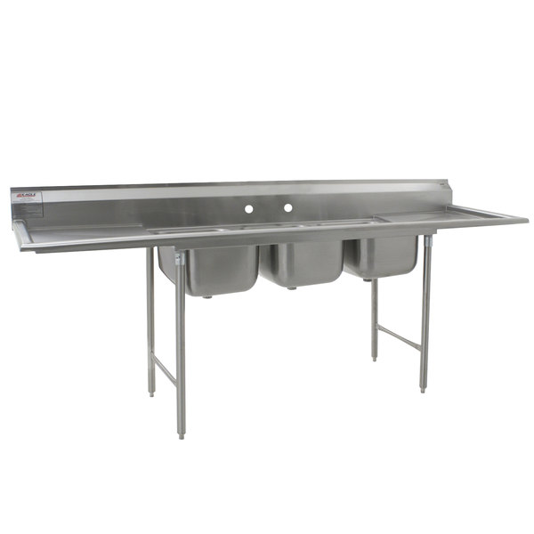"""Eagle Group 412-16-3-24 Three 16"""" Bowl Stainless Steel Commercial Compartment Sink with Two 24"""" Drainboards Main Image 1"""