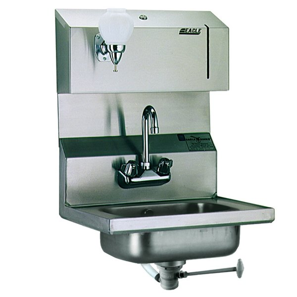 Eagle Group HSA-10-FODP Hand Sink with Gooseneck Faucet, Towel Dispenser, Soap Dispenser, Polymer Drain Lever, and Overflow
