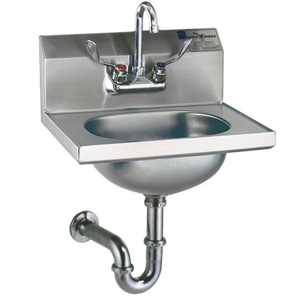 Eagle Group HSA-10-FAW-MG MicroGard Hand Sink with Gooseneck Faucet, Wrist Action Handles, P-Trap, Tail Piece, and Basket Drain