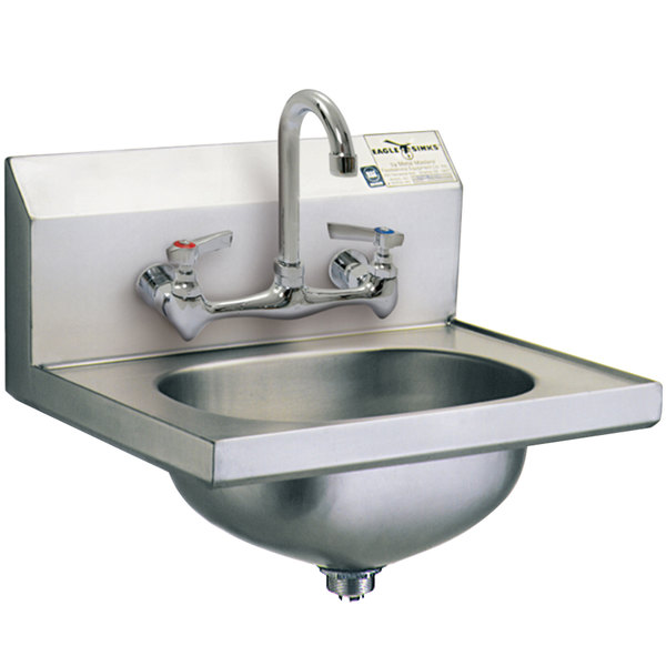 Eagle Group HSA-10-8F Hand Sink with Splash Mount Faucet and Basket Drain Main Image 1