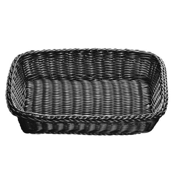 "Tablecraft M2489 Black Rectangular Rattan Basket 16 1/4"" x 11 1/4"" x 3 1/2"""