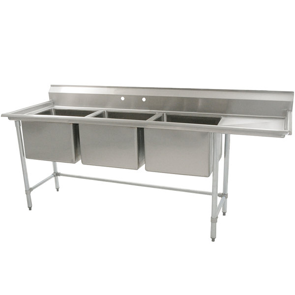 "Right Drainboard Eagle Group S16-20-3-24 Three 20"" x 20"" Bowl Stainless Steel Fabricated Compartment Sink with One 24"" Drainboard"