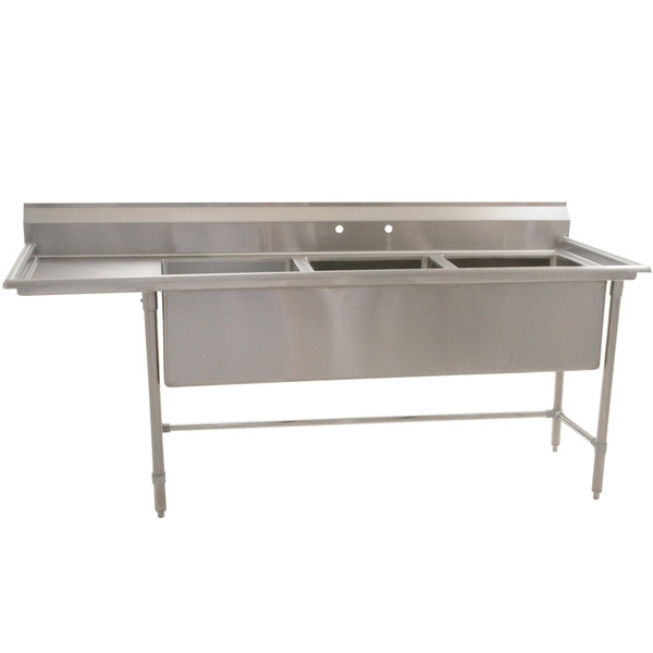 "Left Drainboard Eagle Group S14-20-3-18-SL Three 20"" x 20"" Bowl Stainless Steel Fabricated Compartment Sink with One 18"" Drainboard"