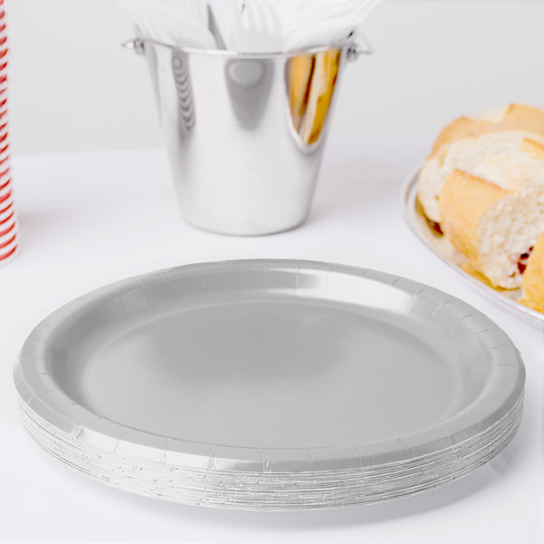 """Creative Converting 47106B 9"""" Shimmering Silver Paper Plate - 240/Case"""