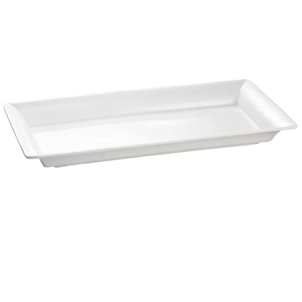 Tablecraft CW2110W White 21 inch x 12 inch Cast Aluminum Large Rectangle Platter