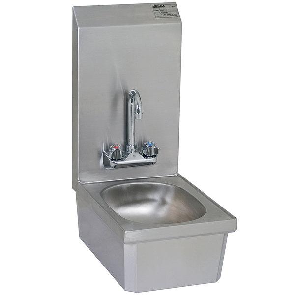 """Eagle Group HSANT-FS Space Saver Hand Sink with Splash Mount Gooseneck Faucet, 19 1/2"""" Backsplash, Skirt, and Basket Drain"""