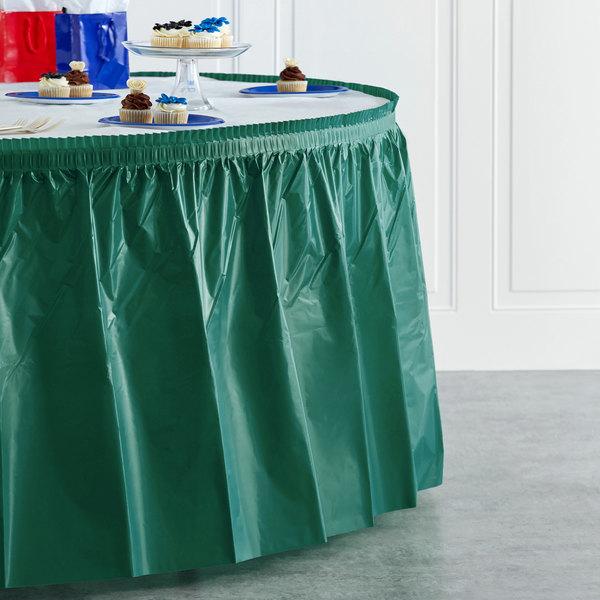 "Creative Converting 743124 14' x 29"" Hunter Green Plastic Table Skirt Main Image 4"