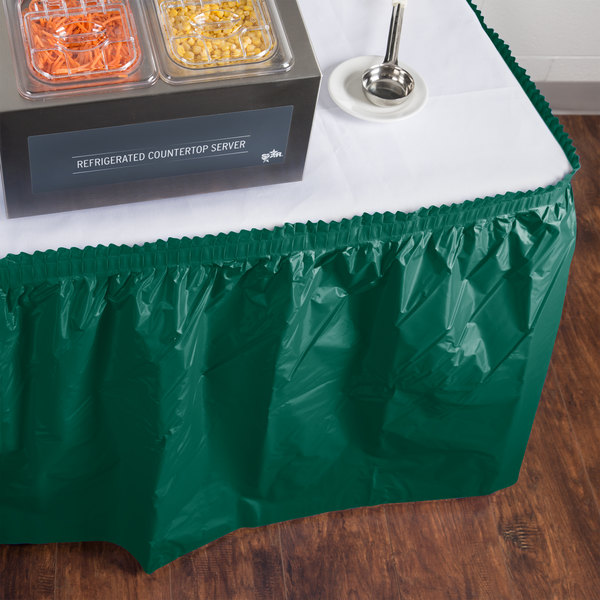 "Creative Converting 743124 14' x 29"" Hunter Green Plastic Table Skirt"