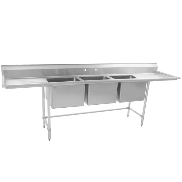 """Eagle Group S16-20-3-24 Three 20"""" x 20"""" Bowl Stainless Steel Fabricated Compartment Sink with Two 24"""" Drainboards"""
