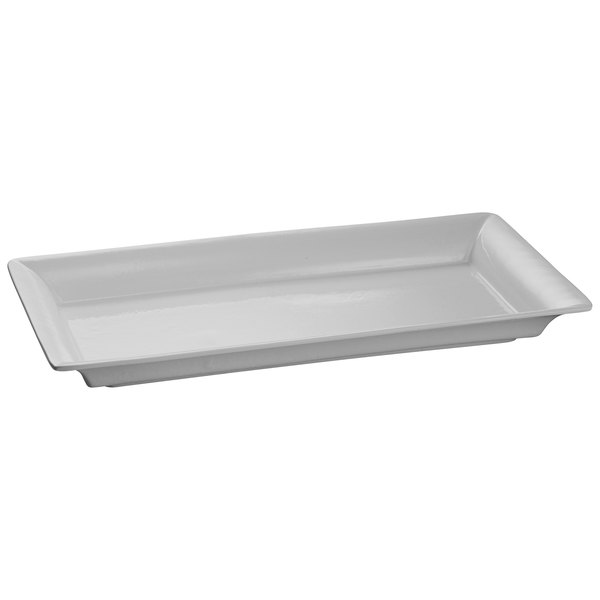 Tablecraft CW2110GY Gray 21 inch x 12 inch Cast Aluminum Large Rectangle Platter