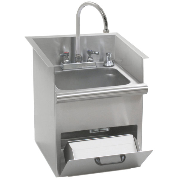 Group HWB-T Hand Wash Sink with T&S Gooseneck Faucet, Built In Towel ...