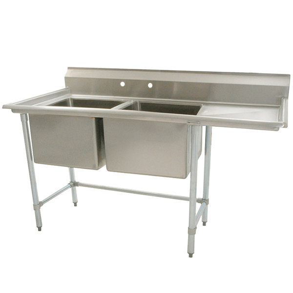 """Right Drainboard Eagle Group S16-20-2-18 Two 20"""" x 20"""" Bowl Stainless Steel Fabricated Compartment Sink with 18"""" Drainboard"""