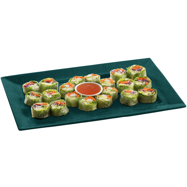 "Tablecraft CW3610HGNS 11"" x 16"" Hunter Green with White Speckle Cast Aluminum Rectangle Platter"