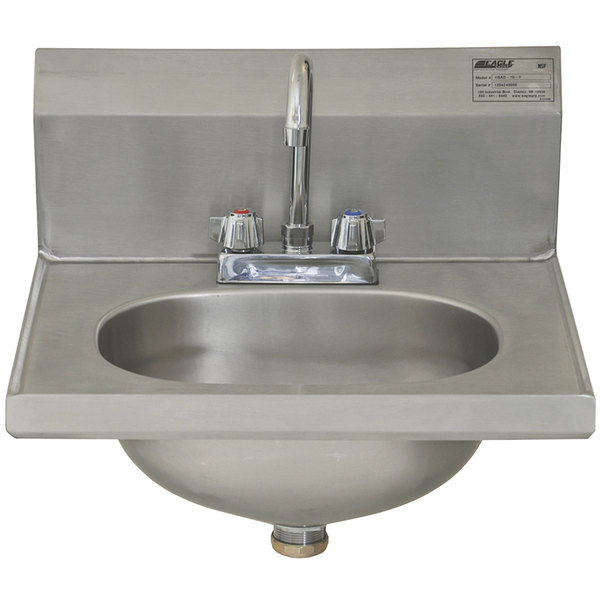 """Eagle Group HSAD-10-F 16 1/2"""" x 18 7/8"""" Hand Sink with Gooseneck Faucet and Basket Drain"""
