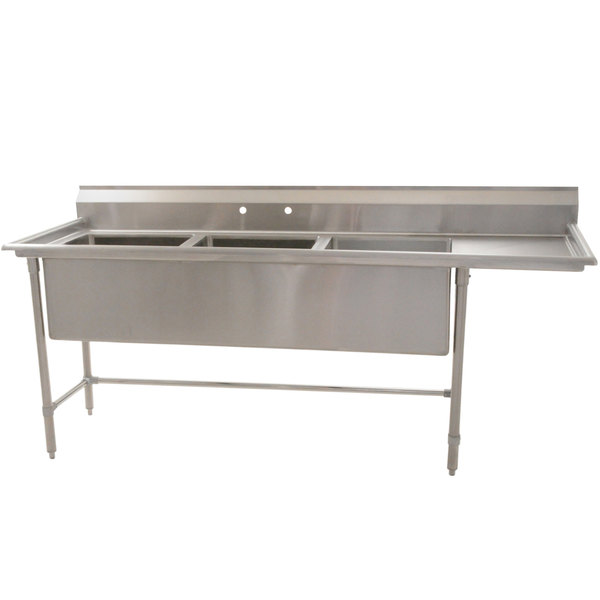 """Right Drainboard Eagle Group S14-20-3-24-SL Three 20"""" x 20"""" Bowl Stainless Steel Fabricated Compartment Sink with One 24"""" Drainboard"""