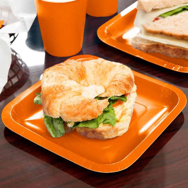 "Creative Converting 453282 7"" Sunkissed Orange Square Paper Plate - 180/Case"