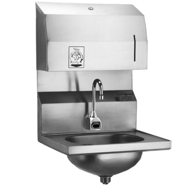 Eagle Group HSA-10-FDPEE Electronic Hand Sink with Gooseneck Faucet, Towel Dispenser, Electronic Soap Dispenser, and Basket Drain