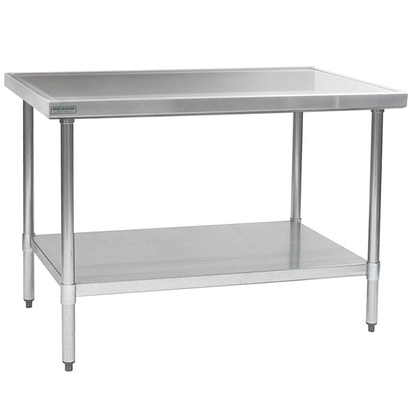 """Eagle Group T4860EM 48"""" x 60"""" Stainless Steel Work Table with Galvanized Undershelf"""