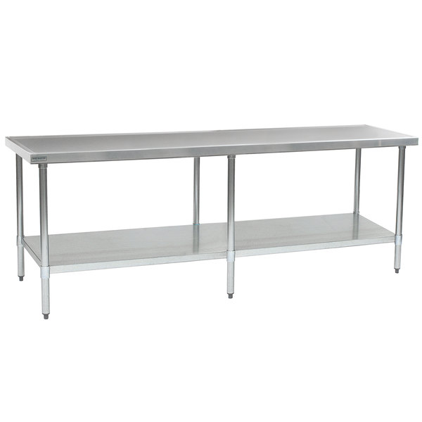 """Eagle Group T36108EM 36"""" x 108"""" Stainless Steel Work Table with Galvanized Undershelf"""