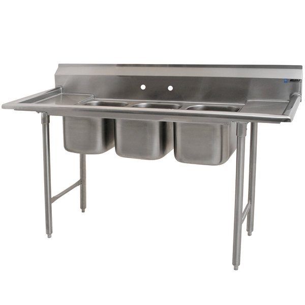 """Eagle Group 310-10-3-12 Three Compartment Stainless Steel Commercial Sink with Two Drainboards - 60"""" Main Image 1"""