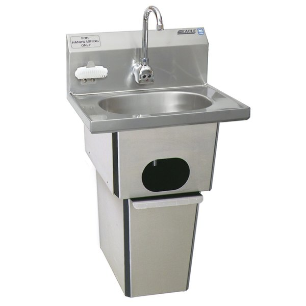 Eagle Group HSA-10-FE-B-T-NB-MG MicroGard Hand Sink with Gooseneck Faucet, Nail Brush, Nail Brush Holder, Waste Receptacle, and Basket Drain