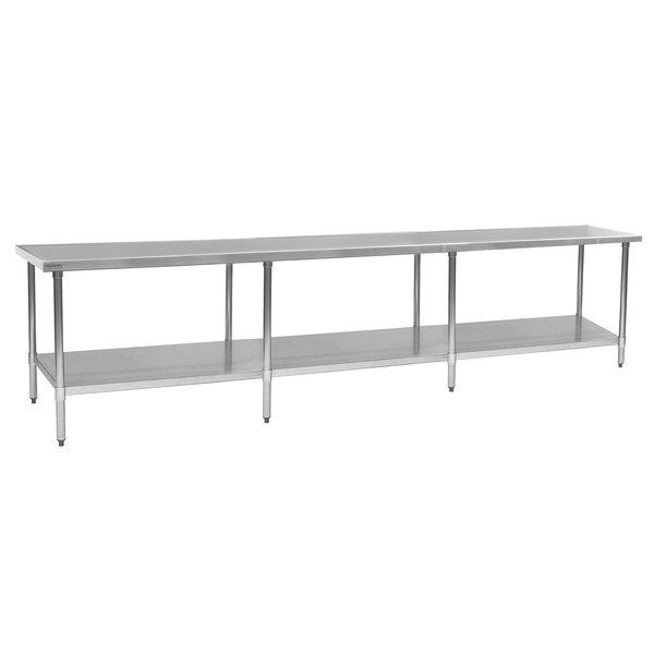"""Eagle Group T36144EM 36"""" x 144"""" Stainless Steel Work Table with Galvanized Undershelf"""