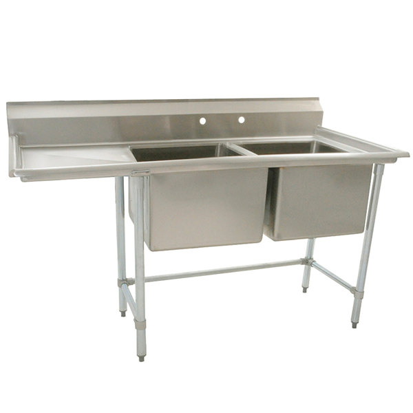 """Eagle Group S16-20-2-18 Two 20"""" x 20"""" Bowl Stainless Steel Fabricated Compartment Sink with 18"""" Drainboard Main Image 1"""