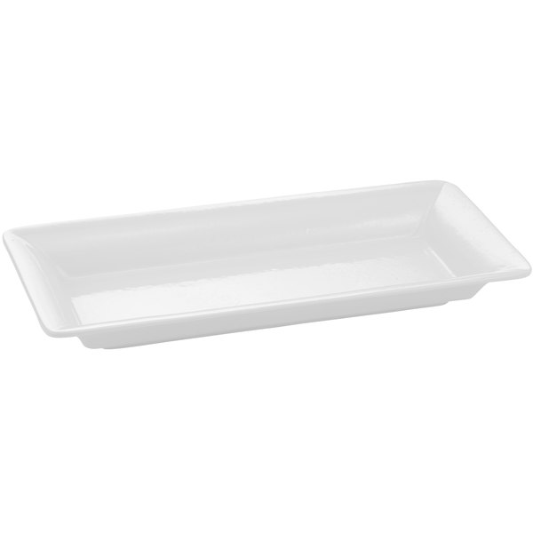 Tablecraft CW2100W White 18 inch x 9 inch Cast Aluminum Small Rectangle Platter