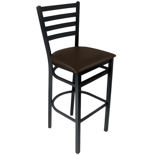 "BFM Seating 2160BDBV-SB Lima Sand Black Steel Bar Height Chair with 2"" Dark Brown Vinyl Seat"