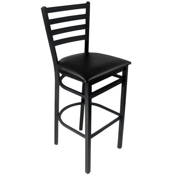 "BFM Seating 2160BBLV-SB Lima Sand Black Steel Bar Height Chair with 2"" Black Vinyl Seat"