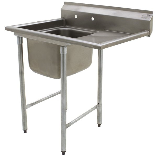 """Right Drainboard Eagle Group 414-16-1-24 27 1/2"""" x 44 7/8"""" One Bowl Stainless Steel Commercial Compartment Sink with Drainboard"""