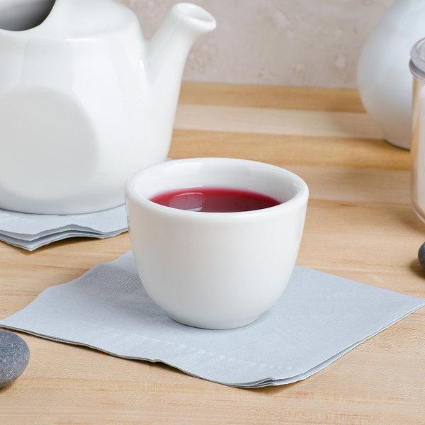 Tuxton TRE-044 3.5 oz. Eggshell Chinese / Asian China Sake Tea Cup - 36/Case Main Image 3