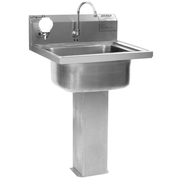 Eagle Group P1916FE Stainless Steel Pedestal Hand Sink With Electronic  Faucet