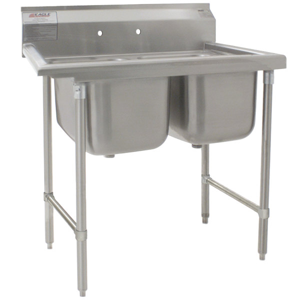 "Eagle Group 314-22-2 53 1/2"" x 29 3/4"" Two Bowl Stainless Steel Commercial Compartment Sink"