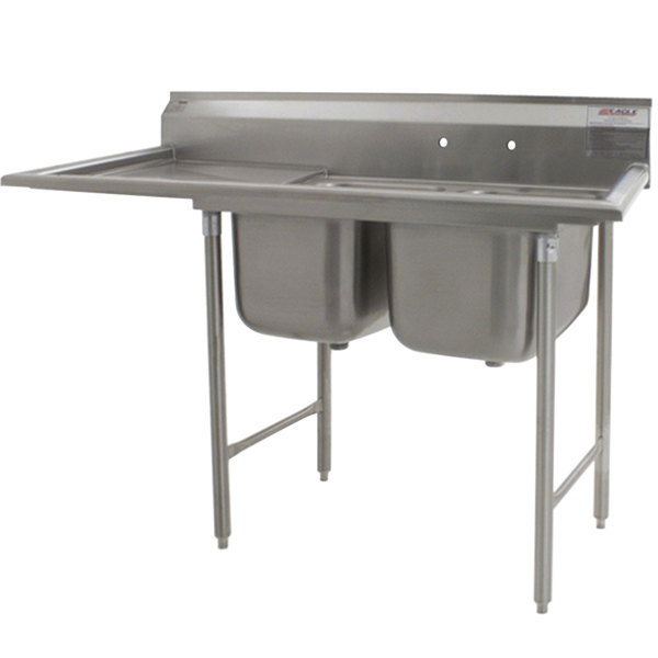 """Left Drainboard Eagle Group 314-22-2-24 75"""" x 29 3/4"""" Two Bowl Stainless Steel Commercial Compartment Sink with Drainboard"""