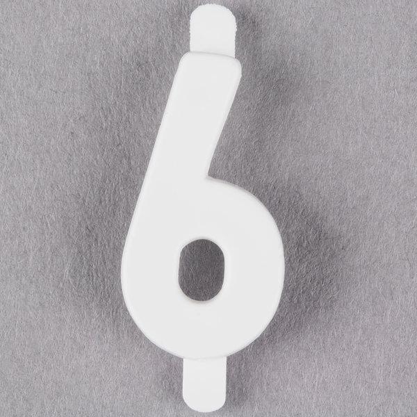 "3/4"" White Molded Plastic Number 6 Deli Tag Insert - 50/Set Main Image 1"
