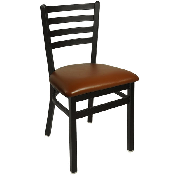 """BFM Seating 2160CLBV-SB Lima Sand Black Steel Side Chair with 2"""" Light Brown Vinyl Seat Main Image 1"""