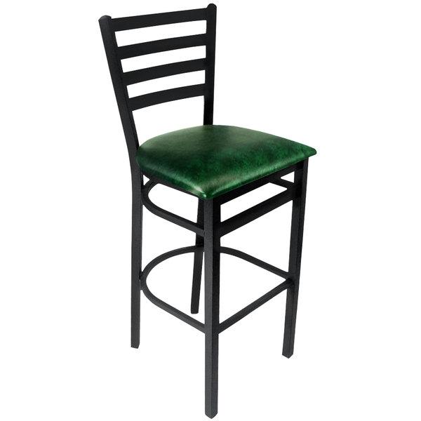 "BFM Seating 2160BGNV-SB Lima Sand Black Steel Bar Height Chair with 2"" Green Vinyl Seat"