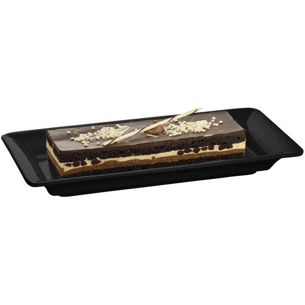"Tablecraft CW2100BK Black 18"" x 9"" Cast Aluminum Small Rectangle Platter"