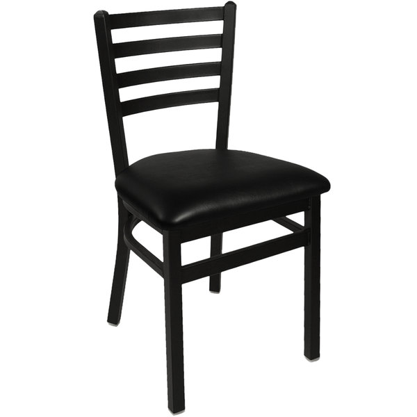 "BFM Seating 2160CBLV-SB Lima Sand Black Steel Side Chair with 2"" Black Vinyl Seat Main Image 1"