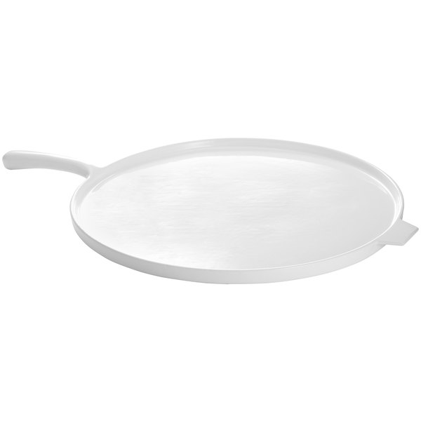 """Tablecraft CW4110W White 14"""" Cast Aluminum Pizza Tray with Handle"""