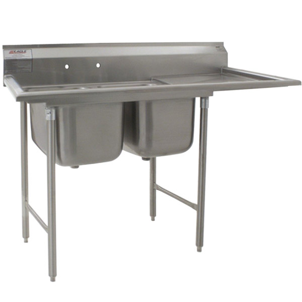 """Right Drainboard Eagle Group 414-22-2-18 69"""" x 29 3/4"""" Two Bowl Stainless Steel Commercial Compartment Sink with Drainboard"""