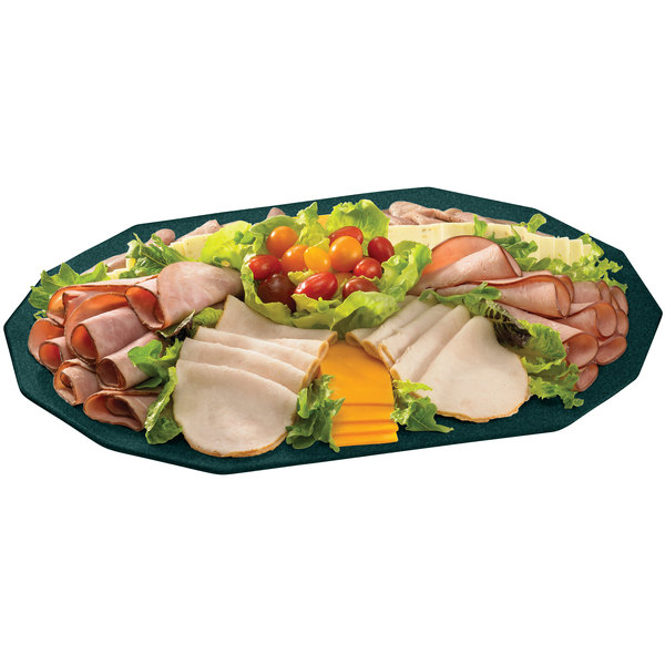 """Tablecraft CW1788HGNS Hunter Green with White Speckle 20"""" x 14"""" Cast Aluminum Prism Platter"""