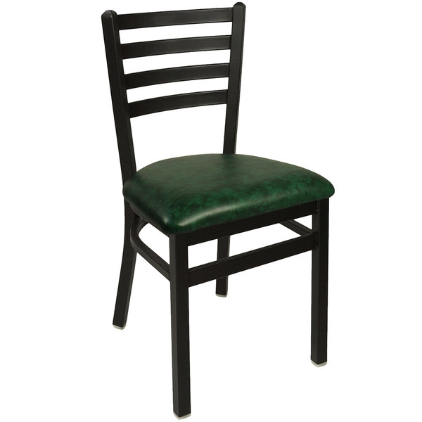 "BFM Seating 2160CGNV-SB Lima Sand Black Steel Side Chair with 2"" Green Vinyl Seat"