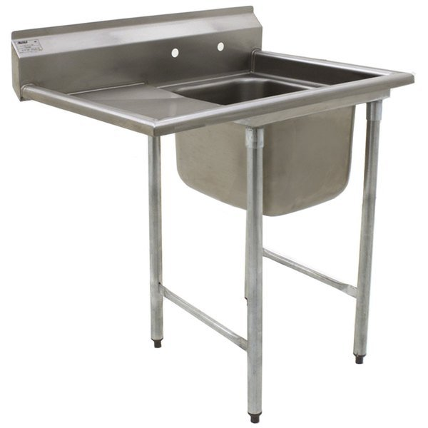 "Left Drainboard Eagle Group 414-24-1-18 31 3/4"" x 46 3/4"" One Bowl Stainless Steel Commercial Compartment Sink with Drainboard"