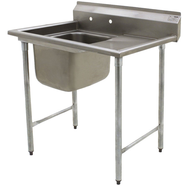 """Right Drainboard Eagle Group 314-16-1-24 27 1/2"""" x 44 7/8"""" One Bowl Stainless Steel Commercial Compartment Sink with Drainboard"""