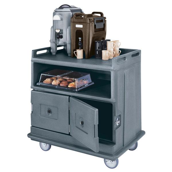 "Cambro MDC24F191 Granite Gray Beverage Service Cart with 2 Doors - 44 1/2"" x 30"" x 44"" Main Image 2"